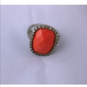 Cocktail Ring Sterling, Rhinestones & Faux Coral